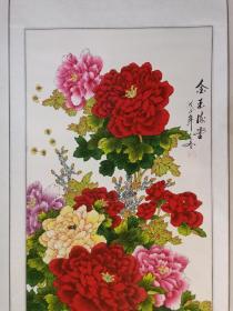 特惠,(高山?)佚名装饰画,精美牡丹国画立轴一幅,画心尺寸128×60cm,惠价130元顺丰包邮。