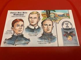 西点三杰(西点军校200年纪念邮票)首日封