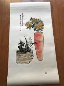 陈半丁 兰菊图立轴。纸本大小43.5*97厘米。宣纸艺术微喷复制。130元包邮