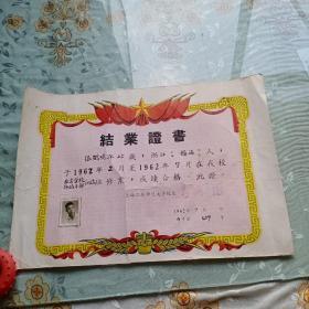 1962年上海工农师范大学结业证书