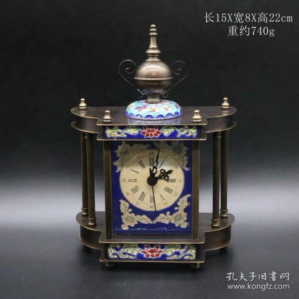 景泰蓝座钟 机械钟
