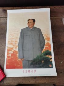 毛主席万岁宣传画(8开 品好)