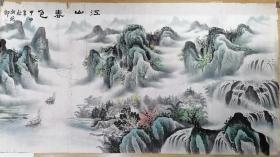 著名山水画家作品,江山春色,落款胡振朗,178X96。