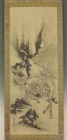 清早期僧人画家雪舟二代:僧人画家秋月等觀笔老纸本凌裱【麒麟图】画心130~49cm老轴头桐木盒子
