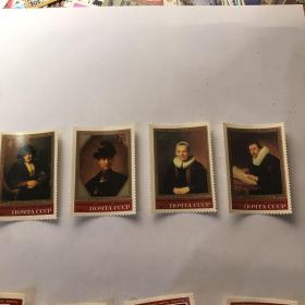 苏联邮票 1983年 馆藏名画 —伦勃朗画 邮票4枚 新票