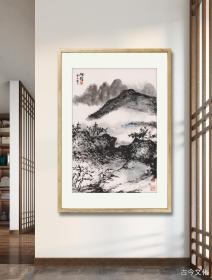 朱屺瞻-回望青山半是云。纸本大小48*70.4厘米。宣纸艺术微喷复制。图为装裱效果参考图