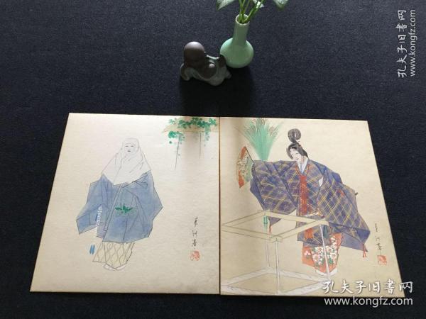 【4070】日本回流 人物色纸画 两幅 为昭和时期画家 野沢蓼洲作品