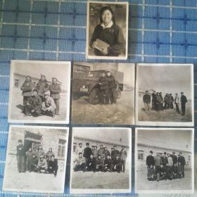一组六十年代北大荒农恳工人合影老照片少见