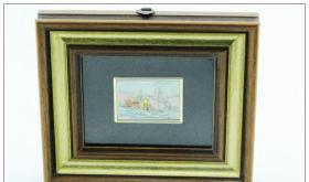 【西洋银器 古董收藏 系列之四 1920年左右意大利Ancona产乡村风光珐琅纯银画】