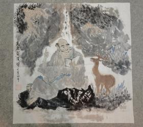 成都老画家 国画友鹿罗汉图 原稿手绘真迹画心软片