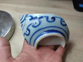 瓷片标本满百包邮,明代青花花卉纹大碗瓷片标本