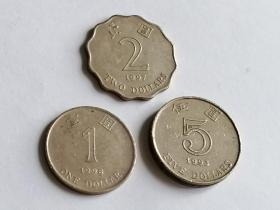 香港硬币1998年1元、1997年2元、1993年5元各一枚