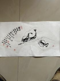 手绘大虾字画国画书画扇面