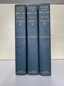 history of the Middle Ages 三卷全 书顶刷金 毛边纸书 1900出版的老书品相完好