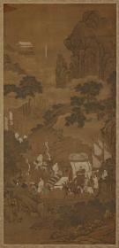 许道宁 蜀山行旅图轴。纸本大小51.21*105.84厘米。宣纸艺术微喷复制。