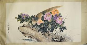 民国海派张大壮 镜芯 《花鸟》  尺寸:179*96cm