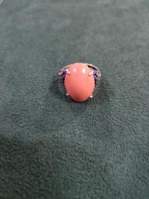 早期纯银烤蓝戒指(5.9克)戒面尺寸1.9厘米✘1.3厘米