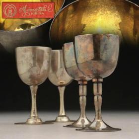 民国时期   銀制 银酒杯 総数4个组 総重155g 専用箱附
