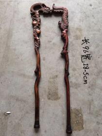 旧藏:黄杨木龙凤拐杖,纯手工制作,制作精细,包浆自然厚重,器型独特,品相完整。标的是单个价钱