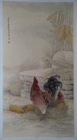 陈松岩,可合影,四尺 花鸟 牡丹 母鸡 鸭子 狐狸