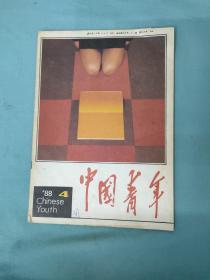 中国青年 杂志1988年第4期 (书皮上有笔迹画线)书有点破损