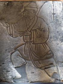 山东曹州木版年画-清代纸扎画五个人物雕版 一块单面雕