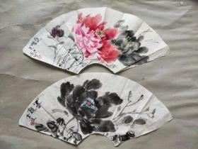 山东理工大学美术学院李波教授早期手绘扇面作品 两幅