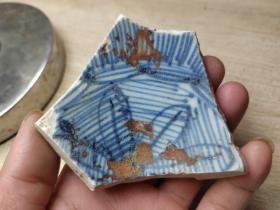 瓷片标本满百包邮,清代鸡心底线描青花大碗瓷片标本