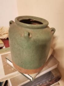 酒文化:民国至解放初期 四耳五斤坛 绿釉酒罐。局部有一处冲裂。