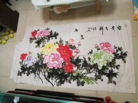 山东省美协会员薛发胜吉祥富贵作品一幅 尺寸178x97厘米——2003年作品,见描述