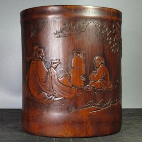 陆羽品茗 竹雕茶圣笔筒