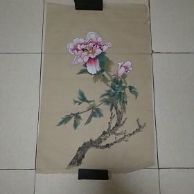 无款花鸟4平尺,,,仿古纸画(010)