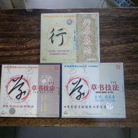 中央电视台重点播出节目/草书技法(1*2)行书技法3张DVD合售