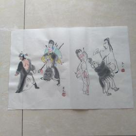 关良京剧人物一开系列2(尺寸33*22CM)