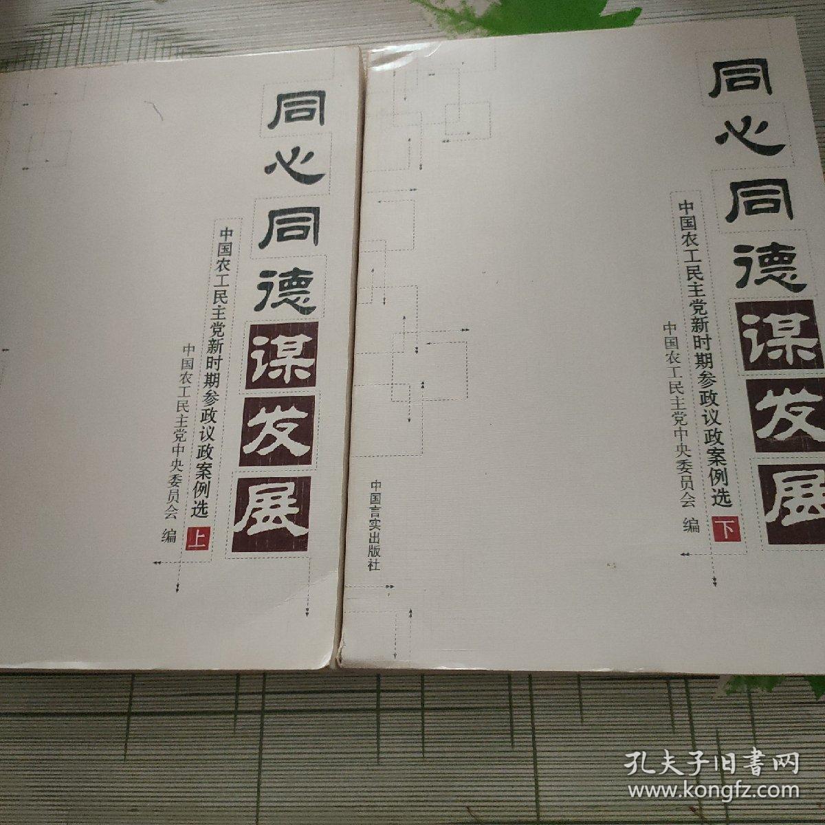 同心同德谋发展:中国农工民主党新时期参政议政案例选(上下册)