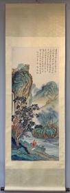 旧藏,傅儒 :一幅精品(游山望瀑图) 老裱立轴,画芯尺寸:131✖️55cm
