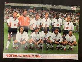 足球海报  1997 英格兰队/希勒,品相如图