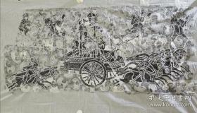 汉像石《驾四出行图》―全国重点文物保护单位新密打虎亭汉墓