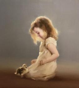 郑育丽,可合影,原创油画60x60cm,仕女 孩童