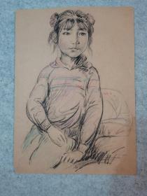 七八十年代素描人物小女孩无签名 原稿手绘 (著名老画家,西安美院高材生作品)
