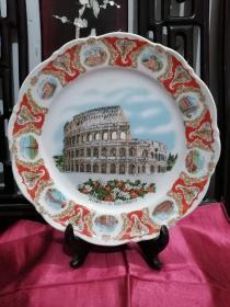 德国巴伐利亚瓷器--德国六十年代挂式瓷盘--《古罗马斗兽场》
