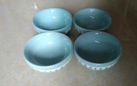题《七碗茶诗》青瓷茶杯两对