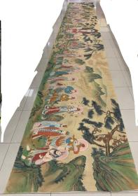 珍藏,张大千(礼佛图)绢本长卷 长10米高1.4米 曾附赵朴初题跋 品相如图