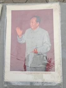 我们的伟大领袖毛主席在中国共产党第八届扩大码第十二次中央委员会全会上,2开宣传画