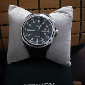 西铁城光动能真皮黑表带大表盘双日历夜光时装表