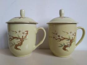 精美梅花瓷杯之四:中国醴陵黄釉梅花瓷茶杯一对