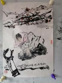 """保真【方增先】(著名画家,20世纪后半叶现实主义中国人物画创作的代表人物之一,中国画坛具有影响力的""""新浙派人物画""""的奠基人与推动者,曾任上海美术馆馆长、中国美术学院荣誉教授、上海市美协主席、中国国家画院中国画院院长。浙江浦江人)   国画 《仕女》(来自于作者家属,见图)"""