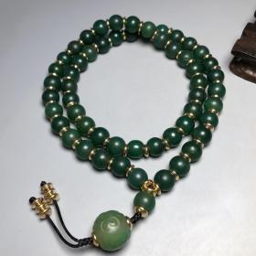 乡下偶遇老者收藏祖母绿玛瑙佛珠项链  7m