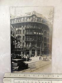 民国时期上海南京路永安公司大楼、电车、街景原版老照片