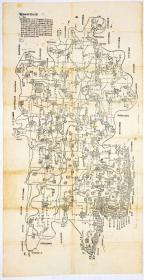 古地图1908 广西全省道里图。纸本大小47.64*92.56厘米。宣纸艺术微喷复制
